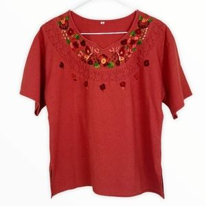Vintage Mexican-Style Canvas Top with V-Neck